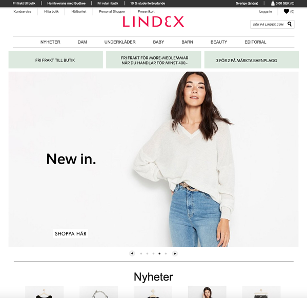 Screenshot of Lindex's website