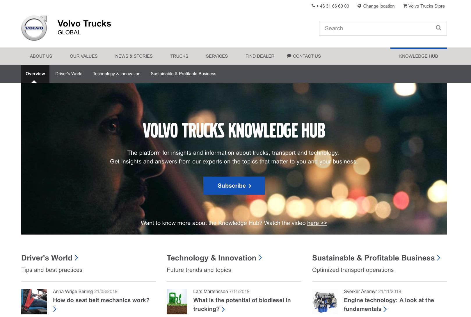A screenshot of Volvo Trucks Knowledge Hub